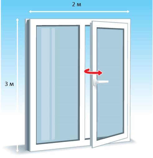 Окно 3 на 2 м